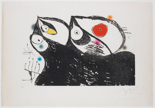 Joan Miro (Spanish, 1893-1983) Les Hirondelles Etching with aquatint printed in colours, 1973, on Arches, signed and numbered 45/75 in pencil, CHECK! should  from the edition of 50, printed by Morsang, Paris, published by Editions Galilee, Paris, 435 x 690mm (17 1/8 x 27 3/8in)(PL)