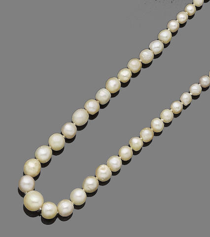A single-strand pearl and diamond necklace