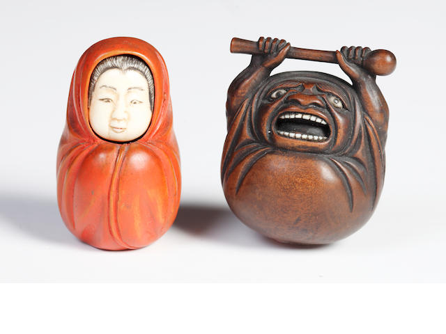 Two wood netsuke of Daruma; 19th century/2