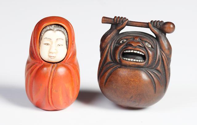 Two wood netsuke of Daruma; 19th century/2
