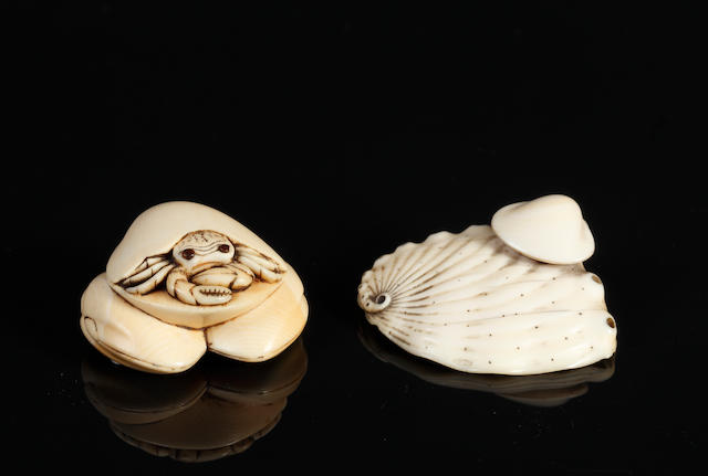 Two ivory netsuke of shell fish