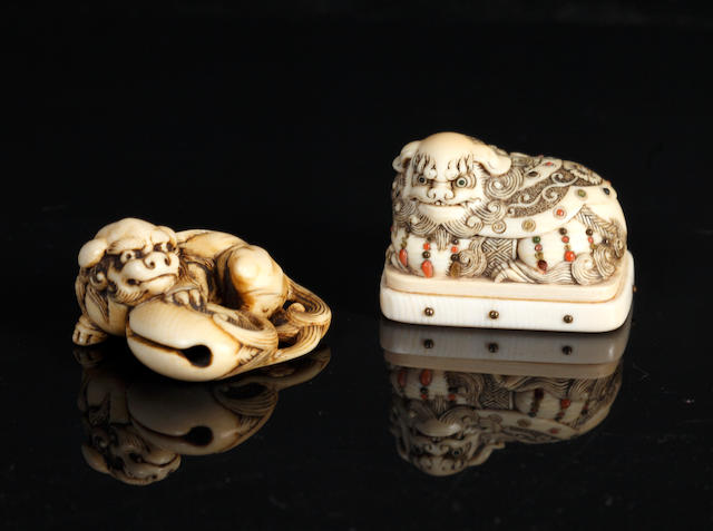 Two ivory netsuke of shishi: