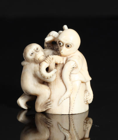 Ivory monkey and octopus, signed Ikkasai, 19th century