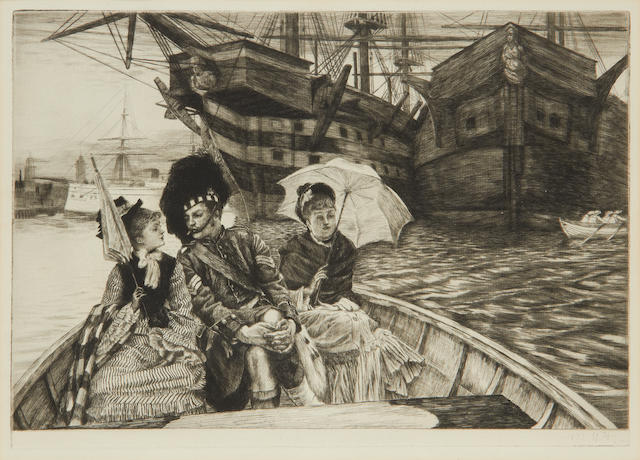 James Jacques Joseph Tissot (French, 1836-1902) Entre les Deux mon Coeur Balance Etching and drypoint, 1877, on watermarked laid, from the edition of approximately 100, with the printed date and signature lower right, 248 x 356mm (9 3/4 x 14in)(PL)