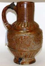 A Raeren stoneware stein, dated 1585