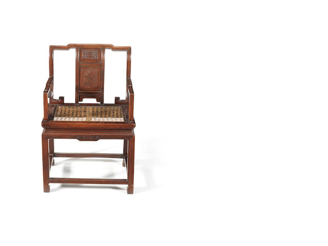 A hardwood armchair 19th or 20th century