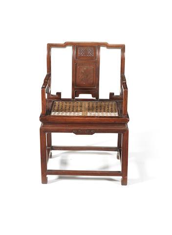 A hardwood armchair 19th or 20th century