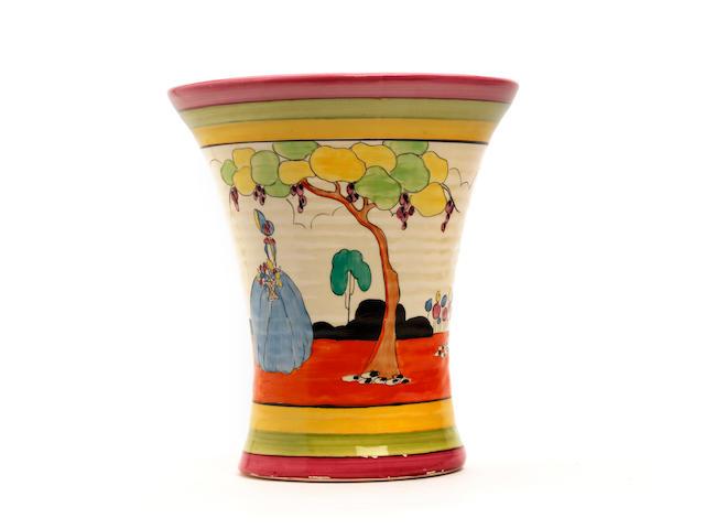A Clarice Cliff 'Applique Idyll' pattern vase Circa 1930