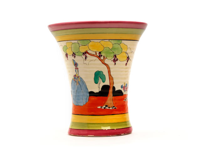 A Clarice Cliff 'Applique Idyll' pattern vase Circa 1930