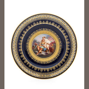 A Meissen blue-ground cabinet plate, late 19th century