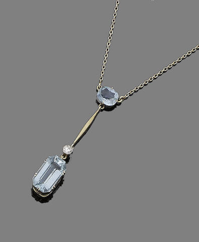 An aquamarine and diamond pendant necklace,