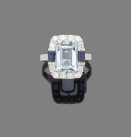 An aquamarine, sapphire and diamond ring