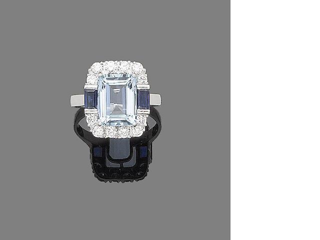 An aquamarine, sapphire and diamond ring