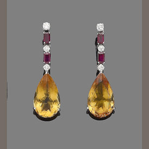 A pair of citrine, ruby and diamond earrings