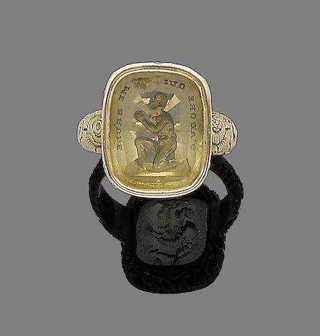A late 18th century citrine intaglio ring