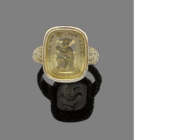 A late 18th century citrine intaglio ring