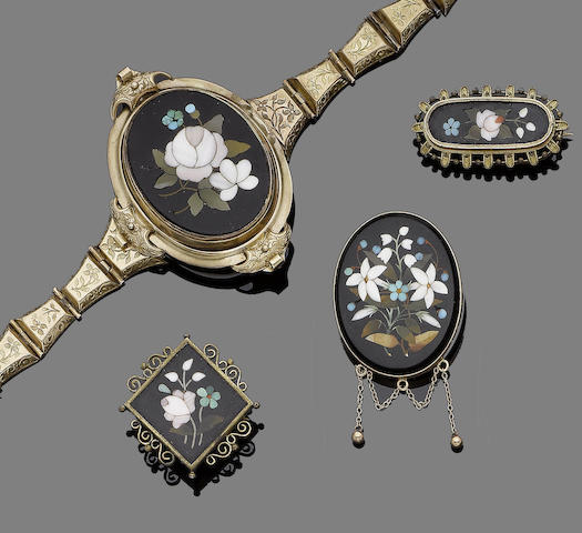 A collection of mid 19th century pietra dura jewellery (6) (partially illustrated)