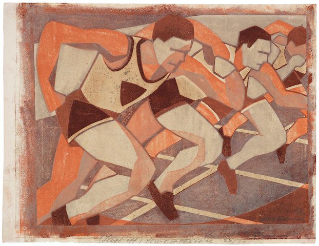 Lill Tschudi (Swiss, 1911-2001) Just Off, or The Start of the Race Linocut printed in brown, orange and beige, 1932, on oriental laid tissue, signed and numbered 27/50 in pencil lower right, also titled, signed and numbered in pencil in lower margin,  200 x 260mm (7 7/8 x 10 1/4in)(B) unframed