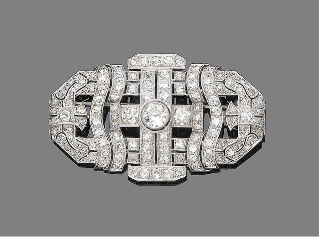 An art deco diamond brooch,