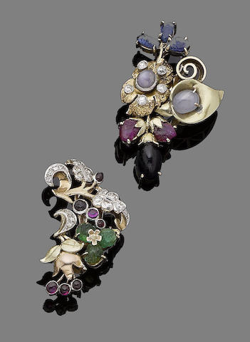 A pair of gem-set earclips,