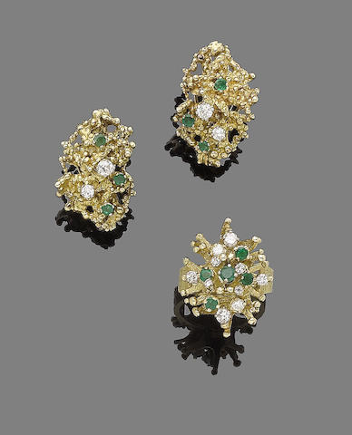 An emerald and diamond ring and earring suite, (2)