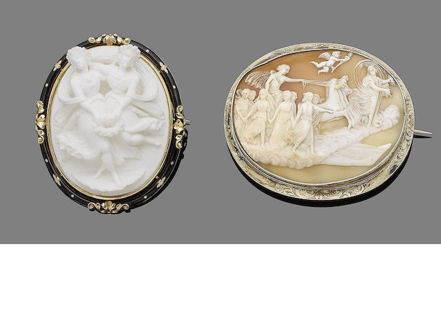 A shell cameo and a lava cameo (2)
