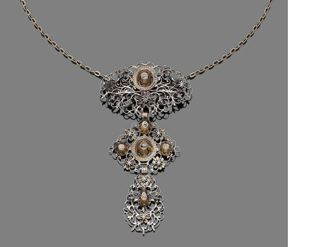 A diamond-set pendant/necklace