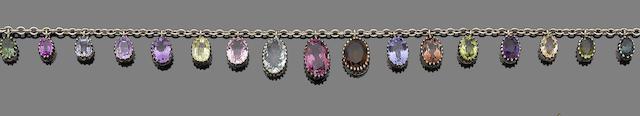 A gem-set fringe necklace