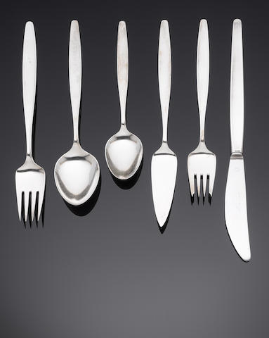 GEORG JENSEN: A silver Cypress pattern table service of flatware stamped STERLING DENMARK