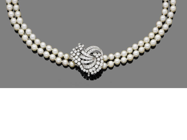 A double-strand cultured pearl and diamond necklace