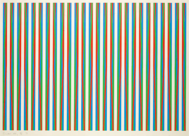 Bridget Riley (British, born 1931) Firebird Screenprint in colours, 1971, on wove, signed, dated and numbered 64/75 in pencil, printed at Kelpra Studio, London, with their blindstamp, 705 x 980mm (27 3/4 x 38 1/2in)(I)