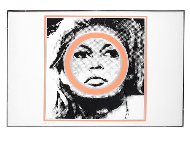 Gerald Laing (British, 1936-2011) Brigitte Bardot Screenprint in pink, black and silver, 1968, on wove, signed, titled 'B.B.' and dated in pencil, numbered 128/200, published by Richard Feigen, New York, with the artist's blindstamp, the full sheet, 585 x 890mm (23 x 35in)(SH)
