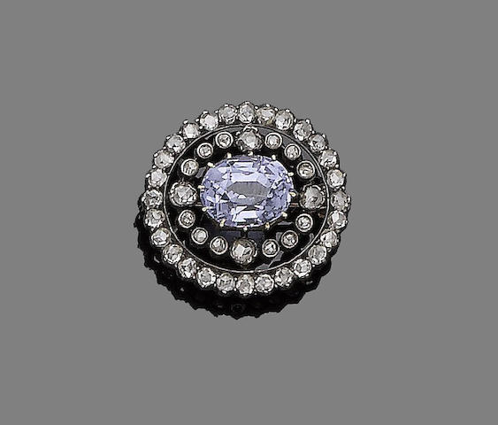 A late 19th century spinel and diamond brooch