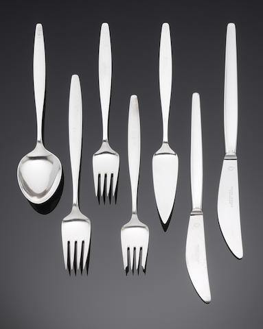 GEORG JENSEN: A  silver Cypress pattern table service of flatware with import marks for 1963