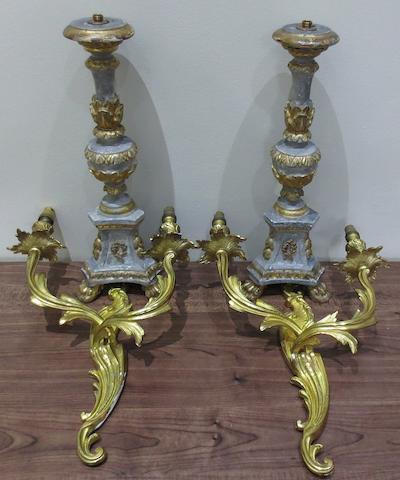 A pair of lamp bases together with a pair of gilt 19th Century wall sconces,