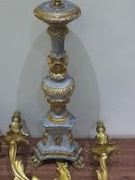 A pair of lamp bases together with a pair of gilt 19th century wall sconces