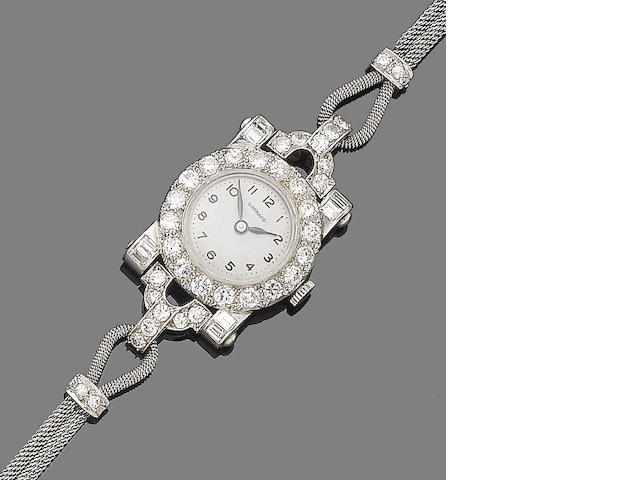 An art deco diamond watch, by Garrard,