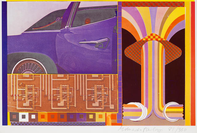 Sir Eduardo Paolozzi (British, 1924-2005), British, 1924-2005 General Dynamic F.U.N. The complete portfolio, 1965-70, comprising 50 lithographs and screenprints, on various papers and acetate, six sheets and title page, signed and numbered 81/350 in pencil, introductory text by J.G. Ballard, lithographs printed by Richard Davis, London and screenprints at Alecto Studios, London, with their stamp verso, published by Editions Alecto, London, in the original formed acrylic box, 380 x 254mm (15 x 10in)  50 Folio