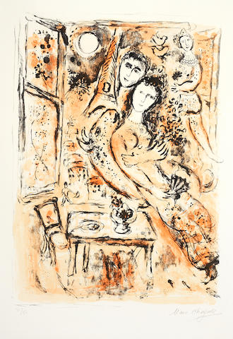 Marc Chagall (Russian/French, 1887-1985) Le Couple a l'eventail Lithograph, 1963, printed in colours, on Arches, signed and numbered 31/50 in pencil, 760 x 530mm (29 7/8 x 20 7/8in)(SH)