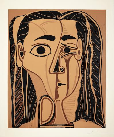 Pablo Picasso (Spanish, 1881-1973) Jacqueline au Bandeau de Face Linocut printed in colours, 1962, on Arches, signed and numbered 33/50 in pencil, published by Galerie Louise Leiris, Paris, with margins, 640 x 530mm (25 1/4 x 20 7/8in)(B)