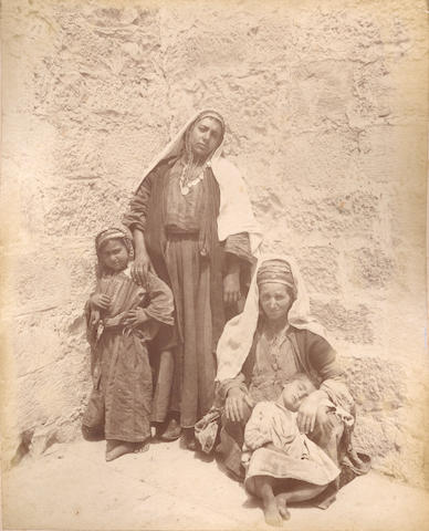 PALESTINE. An album comprising approximately 54 images of Palestine and Egypt as well as types by L. Fiorillo, Bonfils and others, [c.1890]