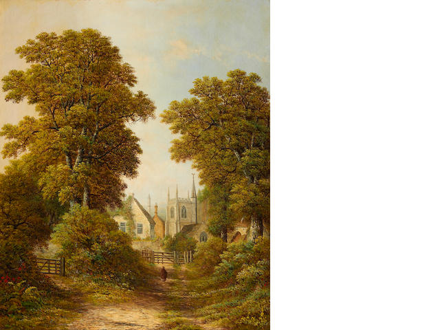 Charles Leaver (British, 19th Century) A village beyond a woodland clearing