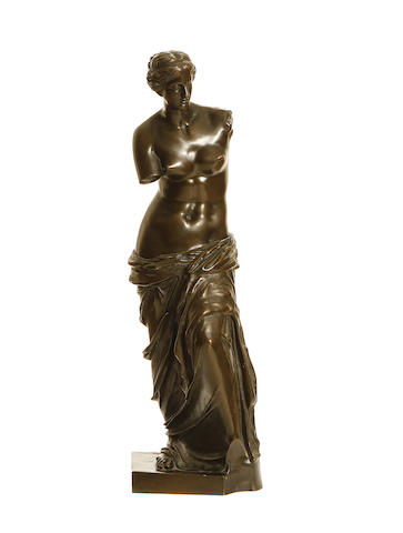 After the Antique: A late 19th century French bronze model of the Venus de Milo