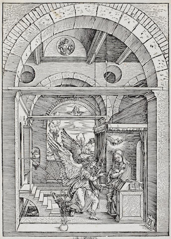 Albrecht Dürer (German, 1471-1528) The Annunciation, from the Life of the Virgin  Woodcut, c.1503, on laid, with a high crown watermark, with narrow margins, 298 x 211mm (11 7/8 x 8 3/8in)(PL)  poss 1b with scratches