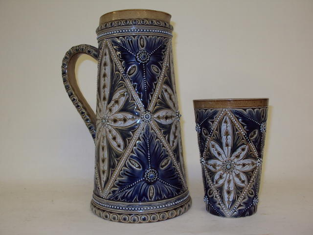 A Doulton Lambeth jug and beaker