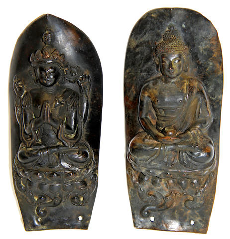 A pair of bronze Buddhist leaf wall plaques