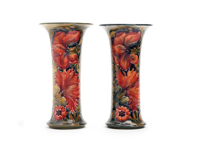 A pair of William Moorcroft 'Spanish' design vases Circa 1914