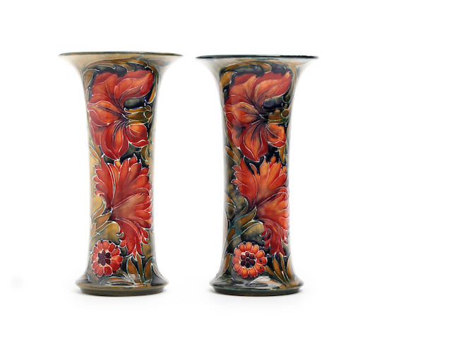 A pair of William Moorcroft 'Spanish' design vases Circa 1914