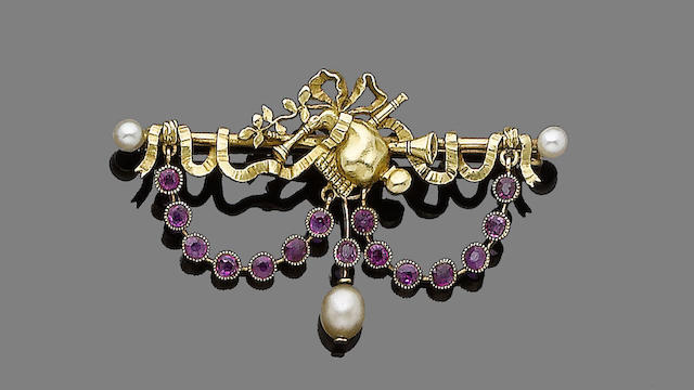A gold, ruby and pearl bar brooch,