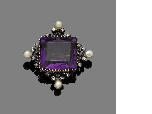 An amethyst, seed pearl and diamond brooch